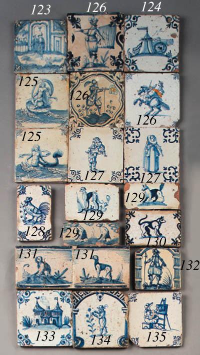 nine various dutch delft blue