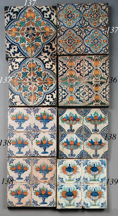 fourteen dutch delft ornamental tiles