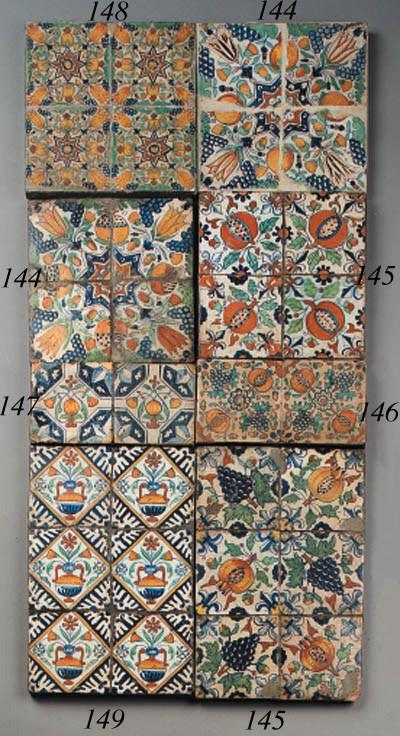 six dutch delft ornamental til
