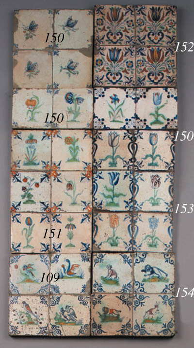 ten dutch delft flower tiles