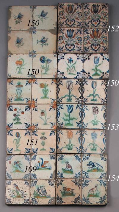 eight dutch delft animal tiles