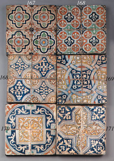 a panel with four ornamental t
