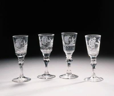 four silesian engraved wine-gl