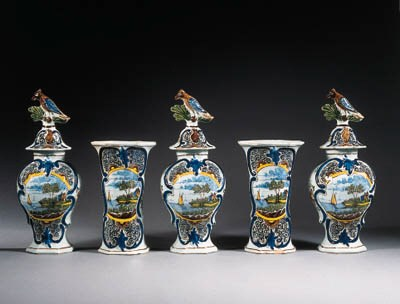 a five-piece dutch delft garni
