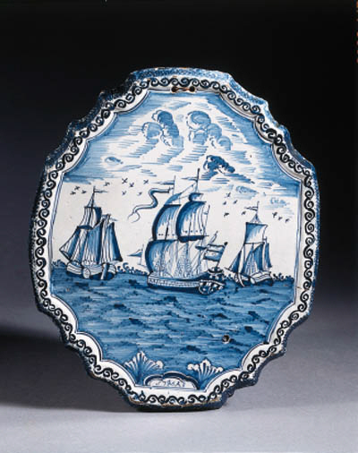 a dated frisian delftware blue and white maritime plaque