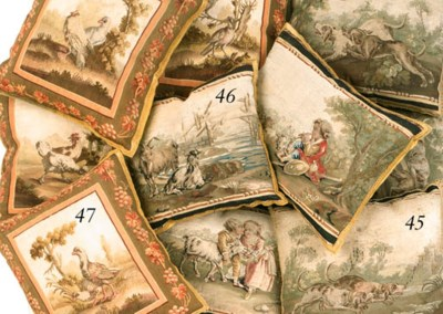 A SET OF FOUR AUBUSSON TAPESTR