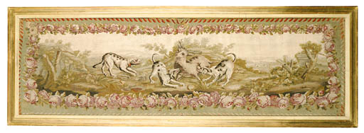 AN AUBUSSON HUNTING TAPESTRY P