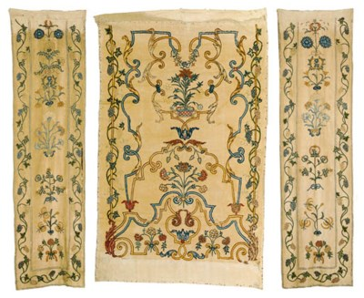 A SET OF CREWELWORK PANELS