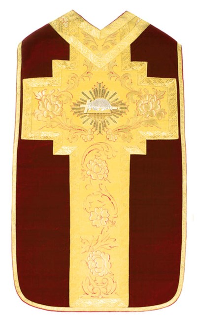 A FRENCH CHASUBLE OF CRIMSON V