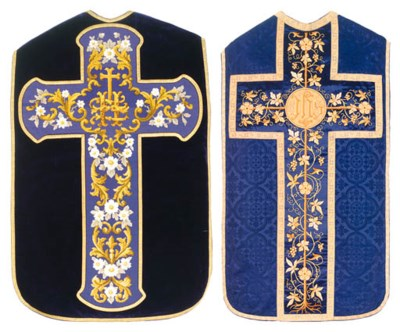 A FRENCH CHASUBLE OF PURPLE VE