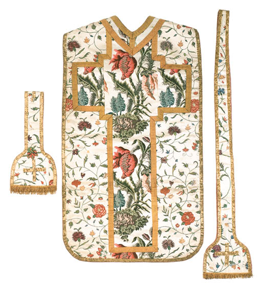 A FRENCH CHASUBLE OF IVORY SAT