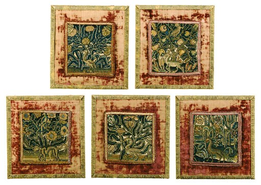 SIX NEEDLEWORK PANELS