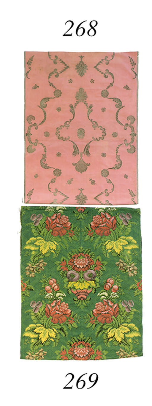 A JOINED PANEL OF PINK SILK BR