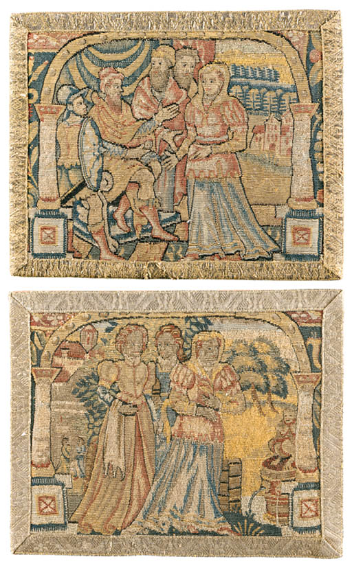 TWO SHELDON BIBLICAL TAPESTRY