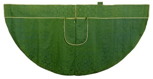 A COPE OF GREEN SILK DAMASK