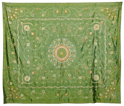 A GRASS GREEN COVERLET