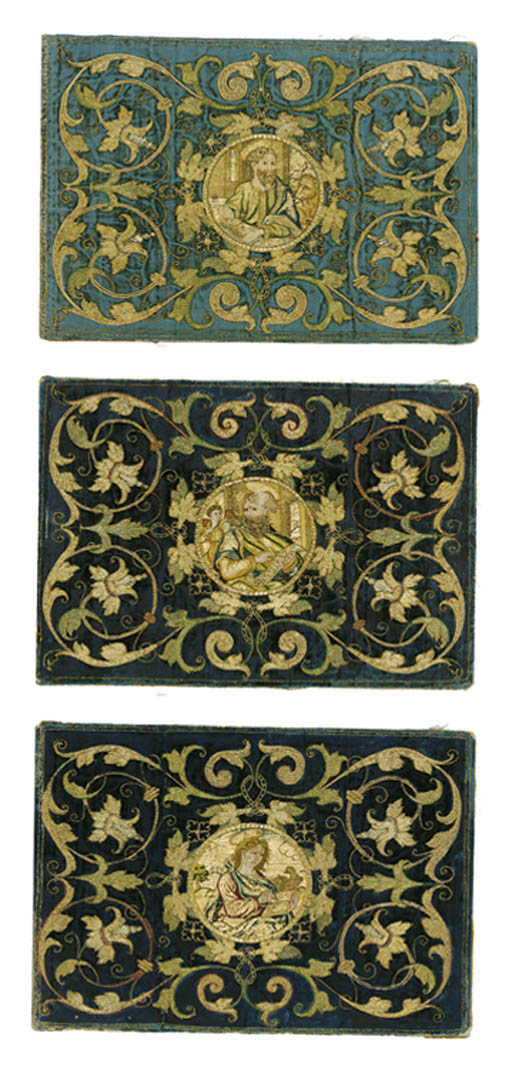 THREE BLUE VELVET PANELS
