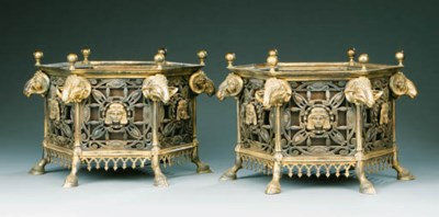 A PAIR OF GILT-BRONZE AND BRON