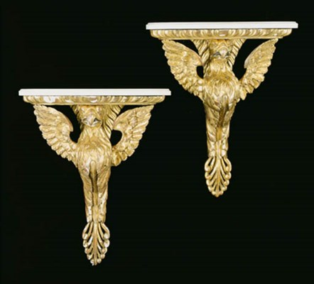 A SET OF FOUR GILTWOOD WALL BR