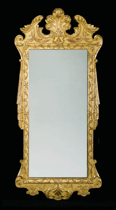 A GILT-GESSO PIER GLASS