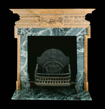 A CARVED-PINE CHIMNEYPIECE