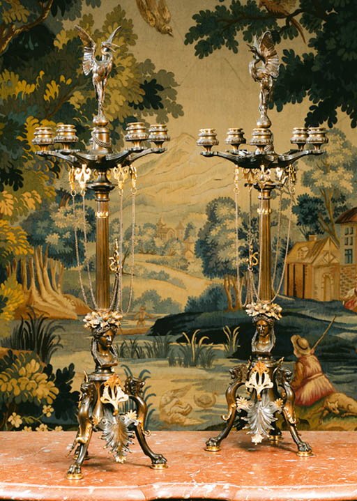 A pair of French parcel-gilt b