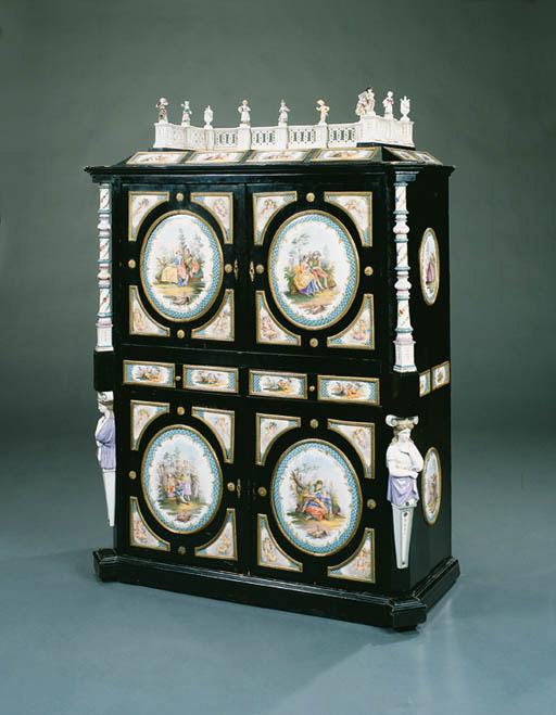 A German ormolu and porcelain-
