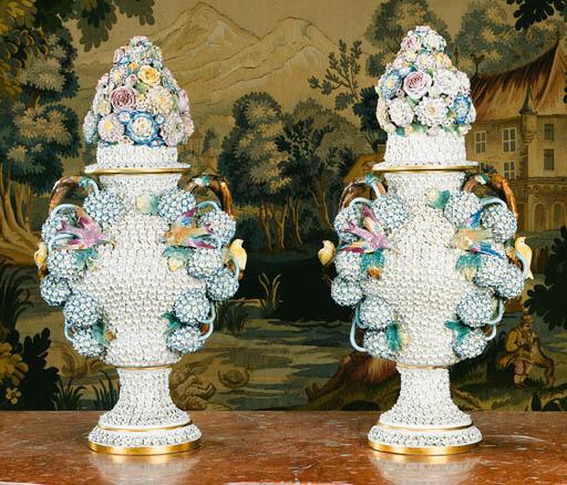 A pair of German porcelain Sch