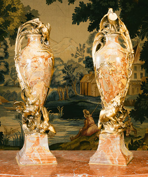 A pair of ormolu and breche ma
