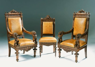 A set of eight carved walnut d