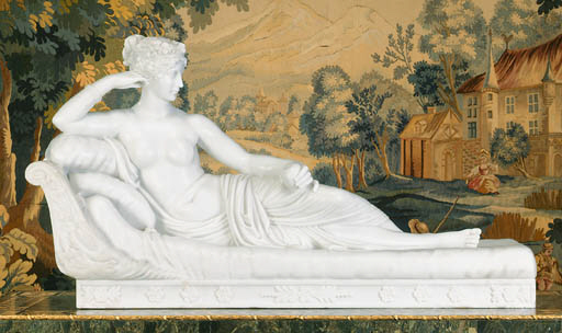A white marble figure entitled