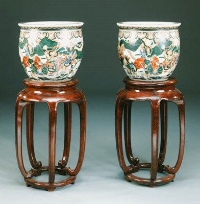 A pair of large Chinese Famill