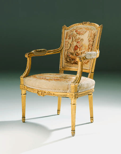 A pair of giltwood and Beauvai