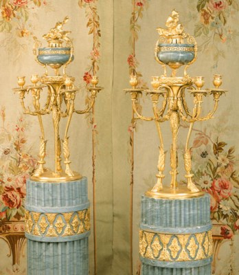A pair of ormolu and grey marb