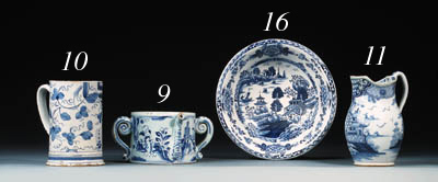 A Bow blue and white basin