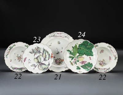 A Chelsea lobed plate of Hans Sloane type