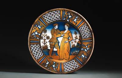 A Deruta blue and gold lustre