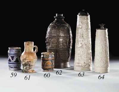 A Tin-glazed cylindrical ointm