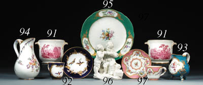 A Sevres biscuit group of Les