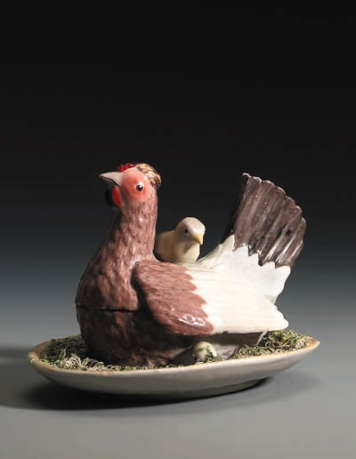 A Volkstedt hen tureen and cov