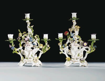 Four Meissen three-light cande