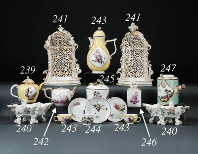 Two Meissen pierced arbours
