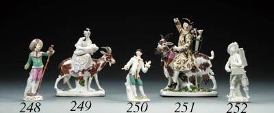 A Meissen white figure of a pe