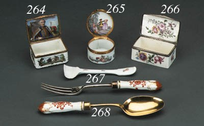 Six Meissen cutlery handles fr