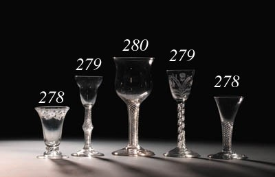 Three airtwist wine-glasses