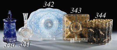A Moser enamelled square dish