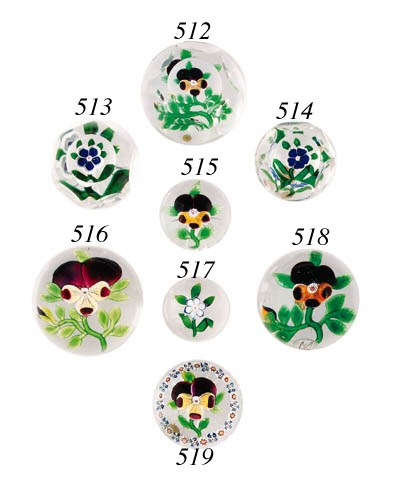 A Baccarat small pansy weight