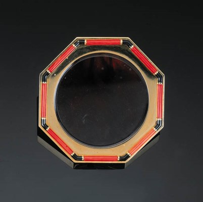 A Black Enamel and Coral Photo