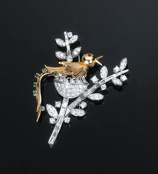A Diamond and Gem-set Bird Bro