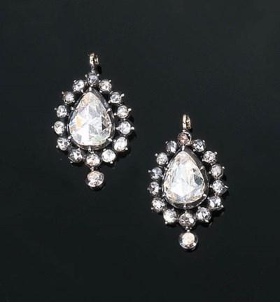 A Pair of Antique Diamond Ear